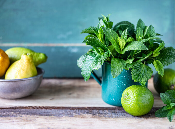 Fresh organic mint and lemon balm in a metal mug, and limes and lemons on a wooden table. Selective focus. Rustic